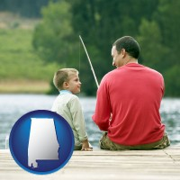 alabama map icon and a father and a son fishing