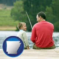 arkansas map icon and a father and a son fishing