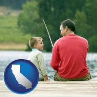 california map icon and a father and a son fishing