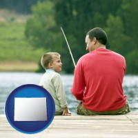 colorado map icon and a father and a son fishing