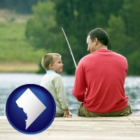 washington-dc map icon and a father and a son fishing