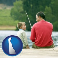 delaware map icon and a father and a son fishing