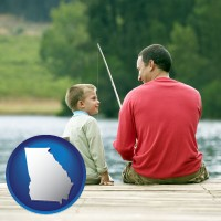georgia map icon and a father and a son fishing