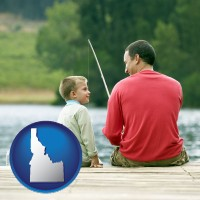 idaho map icon and a father and a son fishing