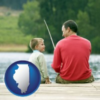 illinois map icon and a father and a son fishing