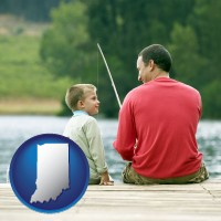indiana map icon and a father and a son fishing