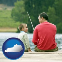 kentucky map icon and a father and a son fishing