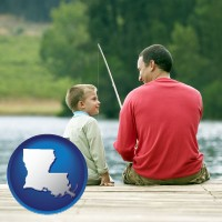 louisiana map icon and a father and a son fishing