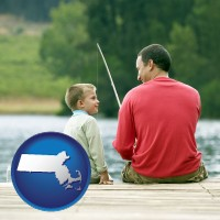 massachusetts map icon and a father and a son fishing