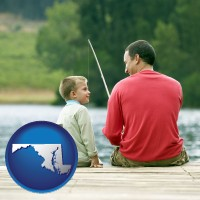 maryland map icon and a father and a son fishing