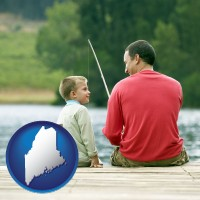 maine map icon and a father and a son fishing