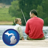michigan map icon and a father and a son fishing