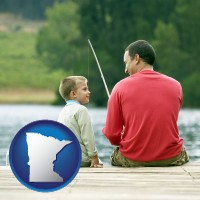 minnesota map icon and a father and a son fishing