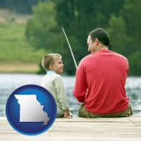 missouri map icon and a father and a son fishing