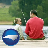 north-carolina map icon and a father and a son fishing