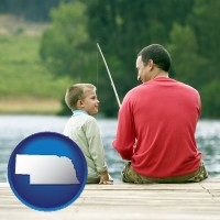 nebraska map icon and a father and a son fishing