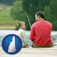 new-hampshire map icon and a father and a son fishing
