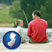 new-jersey map icon and a father and a son fishing