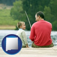 new-mexico map icon and a father and a son fishing