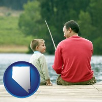 nevada map icon and a father and a son fishing
