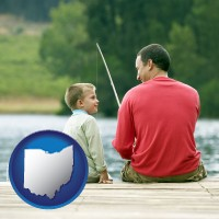 ohio map icon and a father and a son fishing