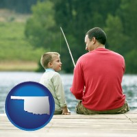 oklahoma map icon and a father and a son fishing