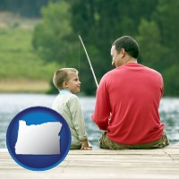 oregon map icon and a father and a son fishing