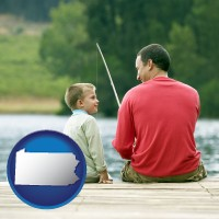 pennsylvania map icon and a father and a son fishing