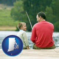 rhode-island map icon and a father and a son fishing