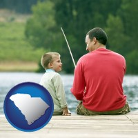 south-carolina map icon and a father and a son fishing