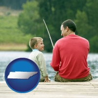 tennessee map icon and a father and a son fishing