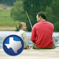 texas map icon and a father and a son fishing