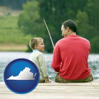 virginia map icon and a father and a son fishing