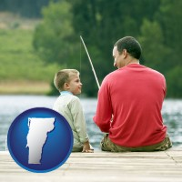 vermont map icon and a father and a son fishing