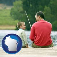 wisconsin map icon and a father and a son fishing