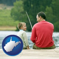 west-virginia map icon and a father and a son fishing