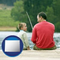 wyoming map icon and a father and a son fishing
