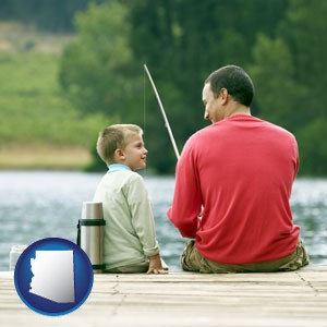 a father and a son fishing - with Arizona icon