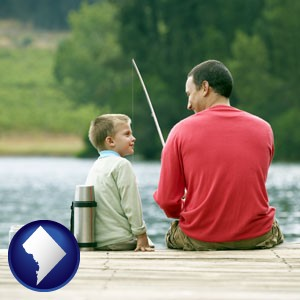 a father and a son fishing - with Washington, DC icon