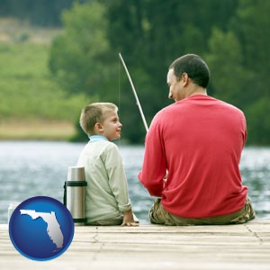 a father and a son fishing - with Florida icon