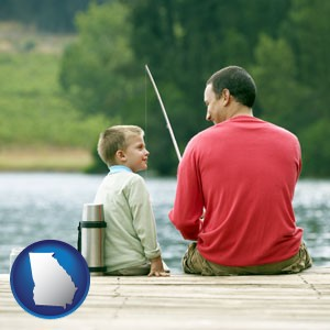 a father and a son fishing - with Georgia icon