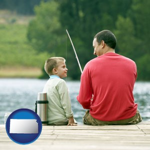 a father and a son fishing - with Kansas icon