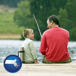 a father and a son fishing - with Massachusetts icon