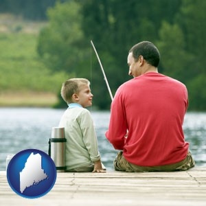 a father and a son fishing - with Maine icon