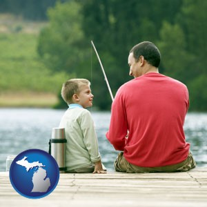 a father and a son fishing - with Michigan icon
