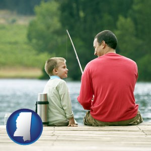 a father and a son fishing - with Mississippi icon