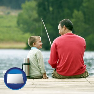 a father and a son fishing - with North Dakota icon