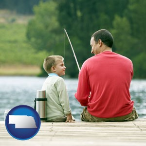 a father and a son fishing - with Nebraska icon