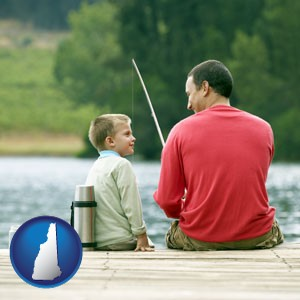 a father and a son fishing - with New Hampshire icon
