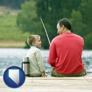 a father and a son fishing - with Nevada icon